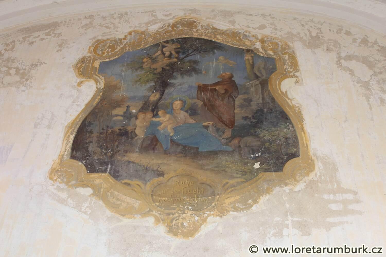 1, Loreta Rumburk, kaple sv Josefa, výchozí stav nástěnné malby Odpočinek na útěku do Egypta, 6 3 2012, foto Klára Mágrová