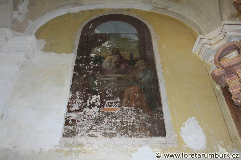 1, Loreta v Rumburku, Nejsv Trojice, nástěnná výmalba, výchozí stav před restaurováním, červen 2014, foto Klára Mágrová