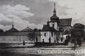 Ambit a vstupní budova Lorety Rumburk na dobové rytině. Neznámý autor, nedatováno