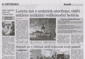 Děčínský deník, Loreta má o svátcích otevřeno, vidět můžete unikátní velikonoční betlém, 23 3 2016, s 2