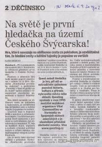 Děčínský deník, Na světě je první hledačka na území Českého Švýcarska, 6 9 2014, s 2