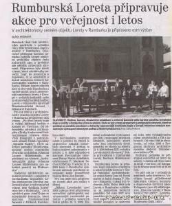 Děčínský deník, Plán akcí v Loretě Rumburk pro rok 2009, 21 3 2009, s 7