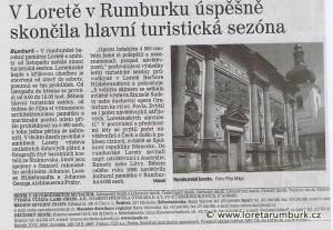 Děčínský deník, Ukončení hlavní turistické sezóny 2009 v Loretě Rumburk, 24 11 2009, s 9