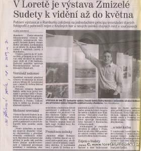 Děčínský deník, Výstava Zmizelé Sudety v Loretě Rumburk, 18 4 2009, s 7