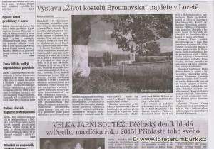 Děčínský deník_Výstava Život kostelů Broumovska_24 3 2015_s 2