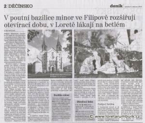 Děčínský deník_V Loretě lákají na betlém_8 4 2014_s 2