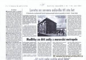 Katolický týdeník, č 38, 2007, Oslavy 300 let Lorety Rumburk