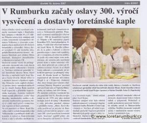 Rumburské noviny, č 8, 2007, 19 4 2007, s 1