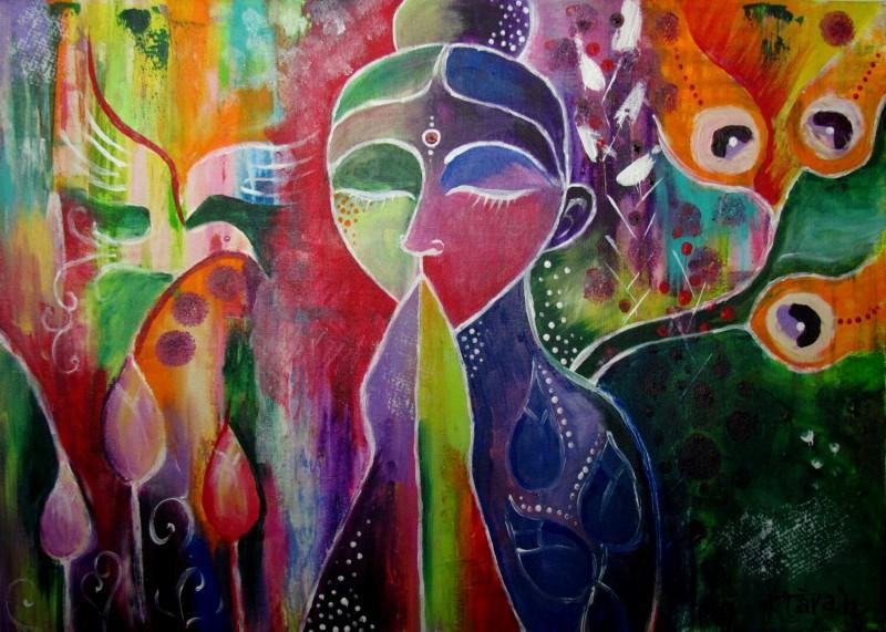 Shanti. Malba akrylovými barvami. Autor Klára Winterová