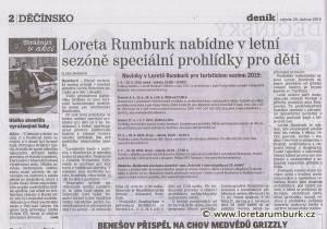 Děčínský deník, Novinky v Loretě Rumburk pro léto 2015, 29 4 2015, s 2