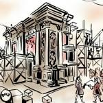 Loreta Rumburk_Výstava Pověsti a přběhy Poutních míst Šluknovska_výřez_Loretánská legenda_kresba Petr Herold